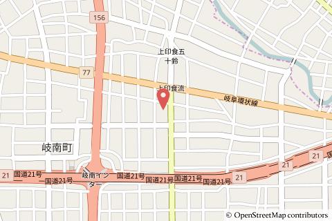 ドラッグユタカ岐南上印食店の地図の写真