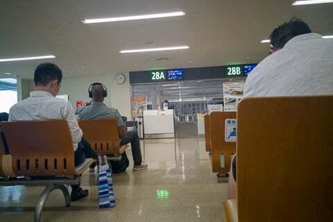那覇空港のバス乗車の写真