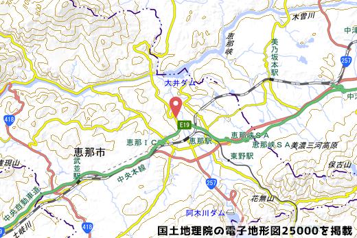 恵那市ののリニア新幹線ルート付近の写真