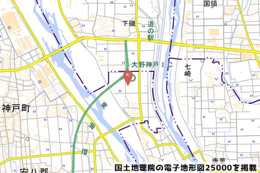 大野神戸ICの地図の写真