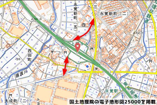 上郷スマートICの接続道路の写真