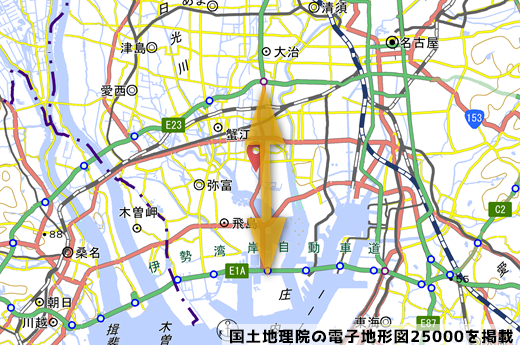 今回の開通区間(名古屋西〜飛島JCT)の写真
