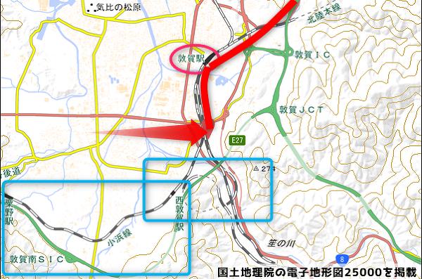 車両基地周辺の地図の写真